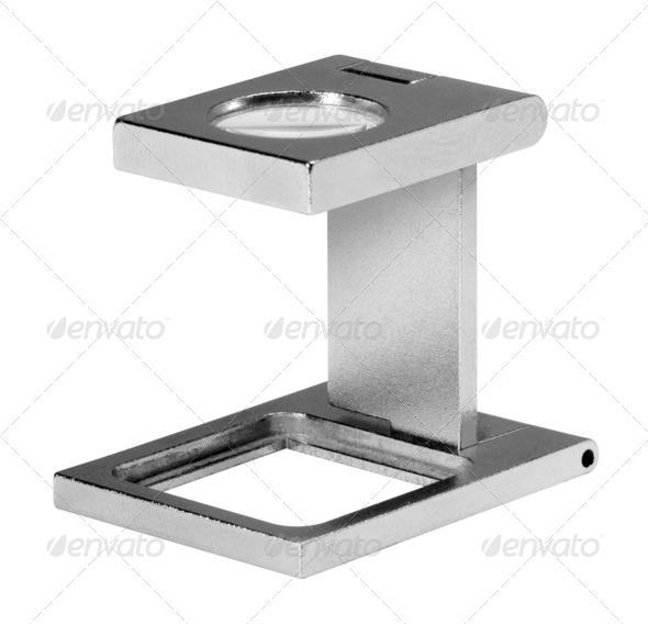 metallic magnifying glass - Stock Photo - Images
