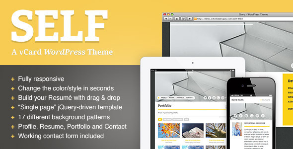 ThemeForest Self A Responsive vCard WordPress Theme 2862092