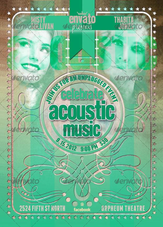 Live Acoustic Music Celebration Flyer Poster