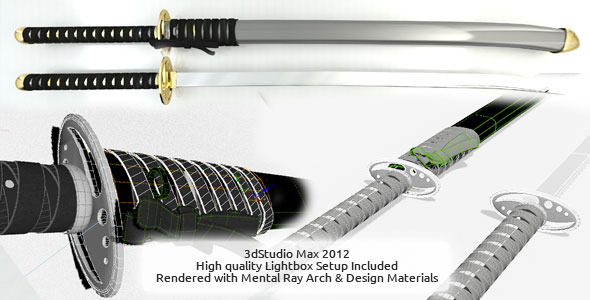 Ninja Sword Hi-Res with Lightbox - 3DOcean Item for Sale
