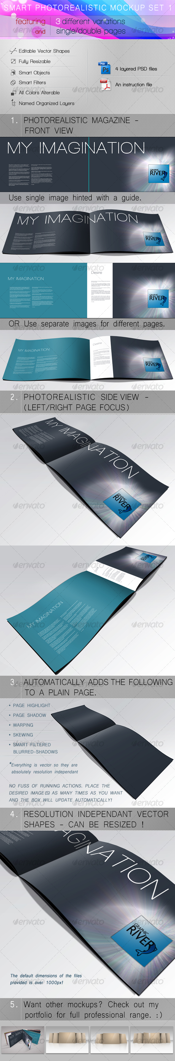 Smart Photorealistic Mockup Set 1 - Magazines Print