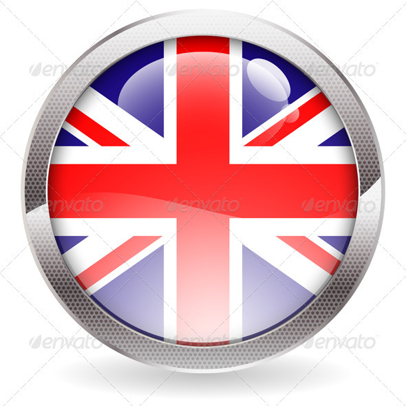 Gloss Button with British Flag