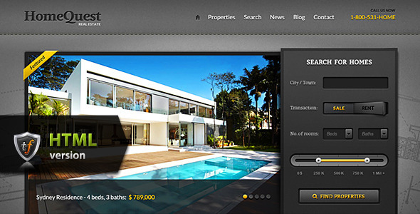 ThemeForest HomeQuest Real Estate HTML Theme Site Templates Corporate Business 2866158