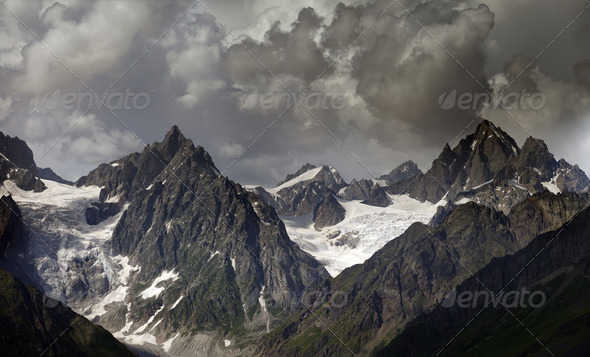 High mountains in clouds - Stock Photo - Images
