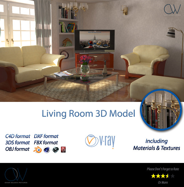Living Room 3D Model - 3DOcean Item for Sale