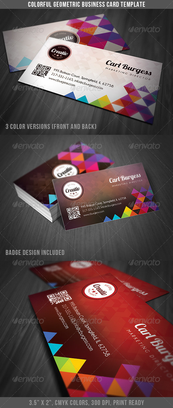 Colorful Geometry Business Card Template - Creative Business Cards