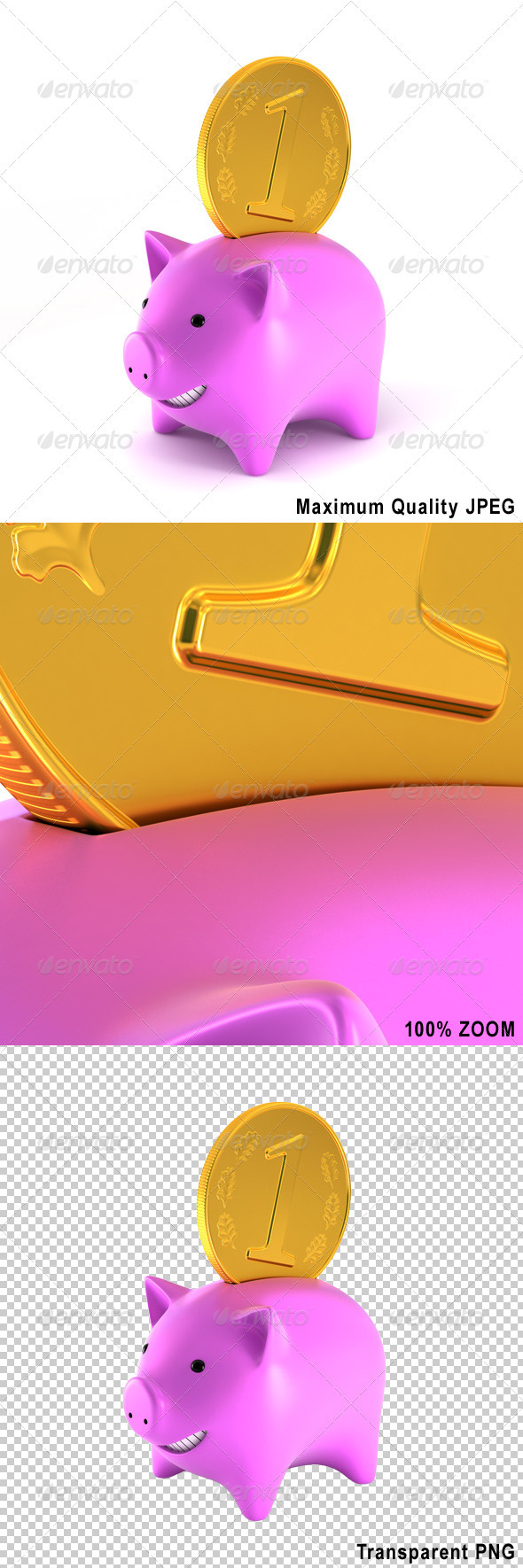 Piggy Bank with Big Coin - Objects 3D Renders