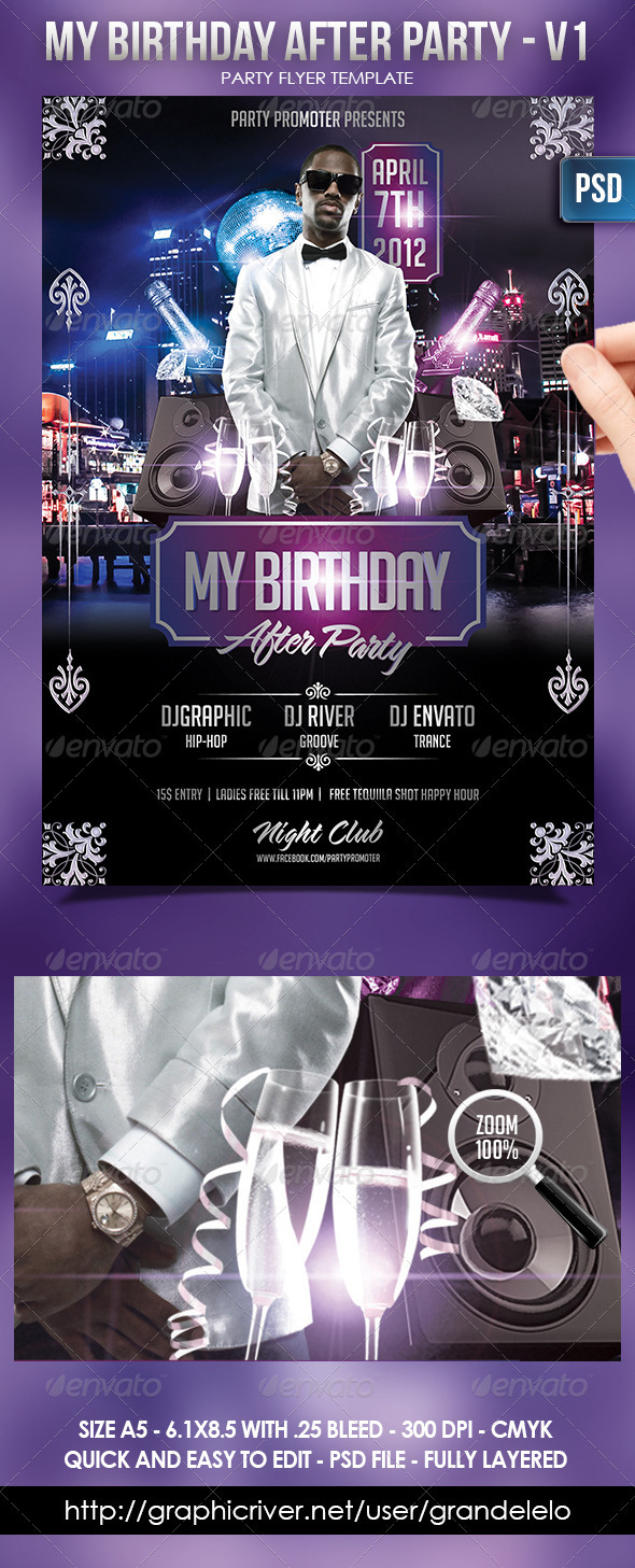 My Birthday After Party Flayer Template - Flyers Print Templates