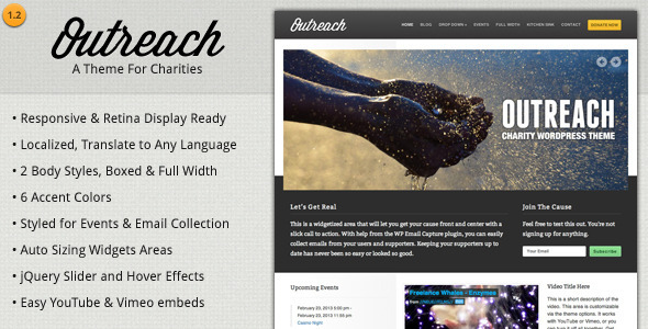 ThemeForest Outreach Charity WordPress Theme 2509468