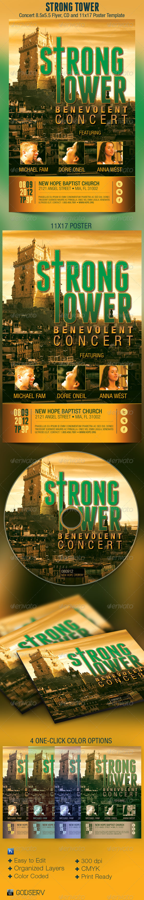Strong Tower Church Flyer, Poster and CD Template - Church Flyers