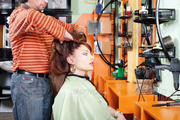 Had massage in hair salon - Stock Photo - Images
