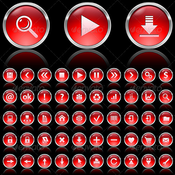 Red glossy icons - Man-made Objects Objects