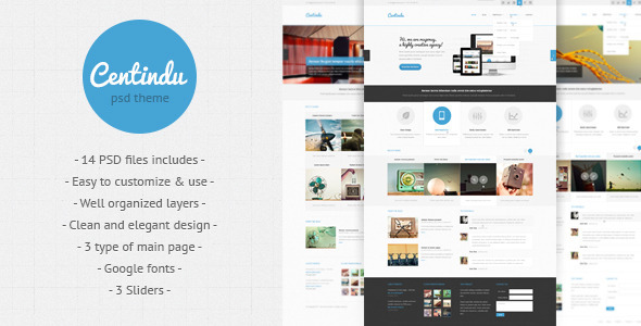 Centindu - clean and modern PSD template - Corporate PSD Templates