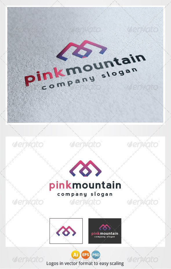 Pink Mountain Logo M Letter