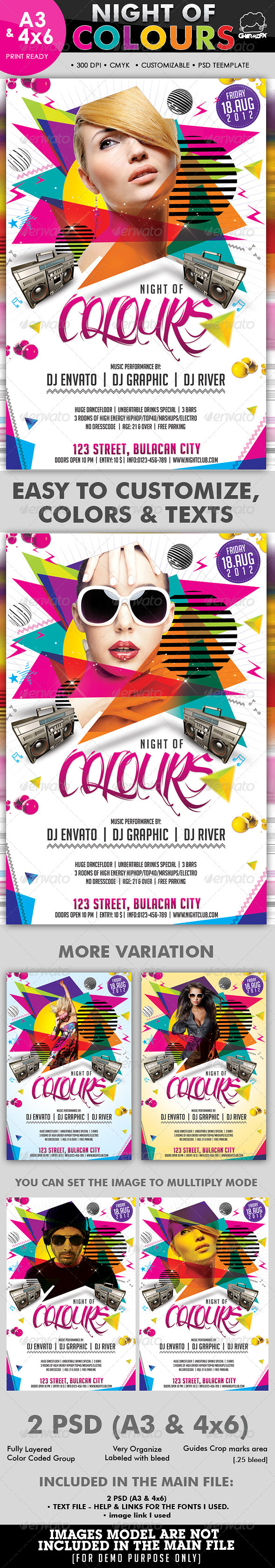 Night Of Colours Flyer Template - Clubs & Parties Events