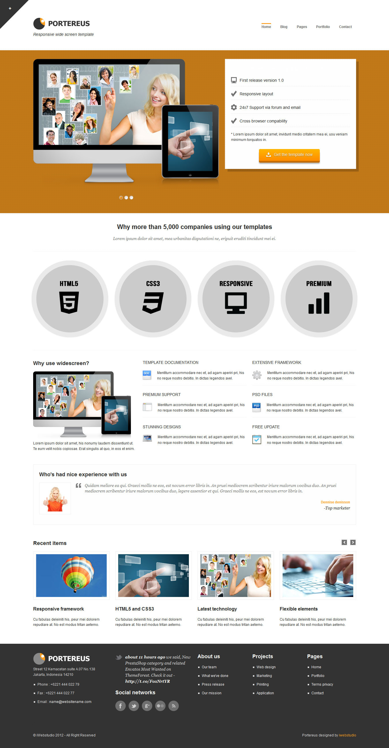 Portereus wide responsive website template