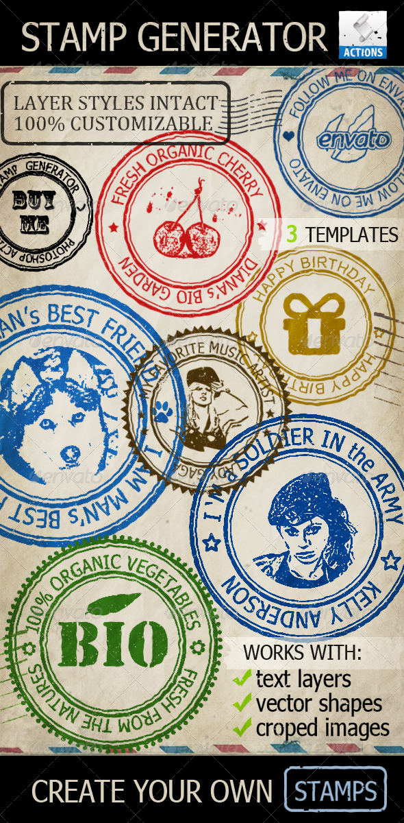 GraphicRiver Rubber Stamp Generator Photoshop Action 2857046