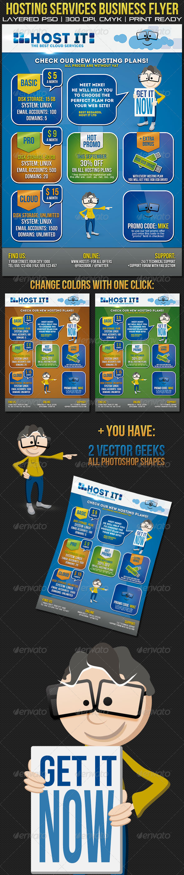 GraphicRiver Hosting Services Business Flyer Poster 2852264