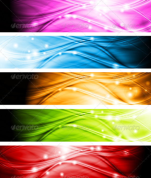 Vibrant wavy banners - Backgrounds Decorative