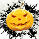 Download Vector Grungy Floral Halloween Background with Pumpkin