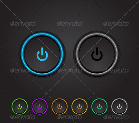 GraphicRiver Vector Neon Glowing Power Buttons 2874909