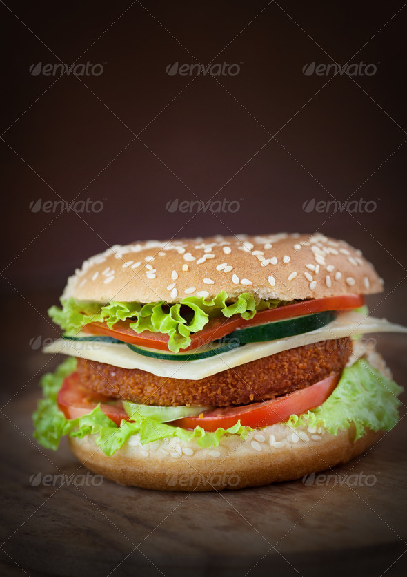 Fish burger - Stock Photo - Images