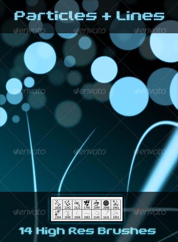 GraphicRiver Particles & Lines Premium Brushes 103239