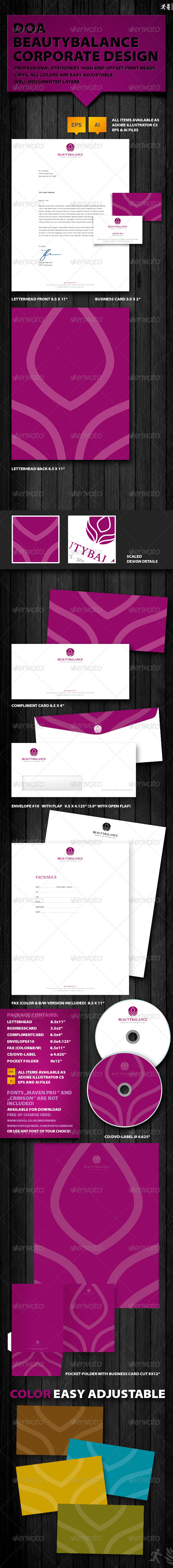 DOA Beautybalance Corporate Design - Stationery Print Templates