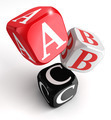 a b and c letters on red white black box - PhotoDune Item for Sale