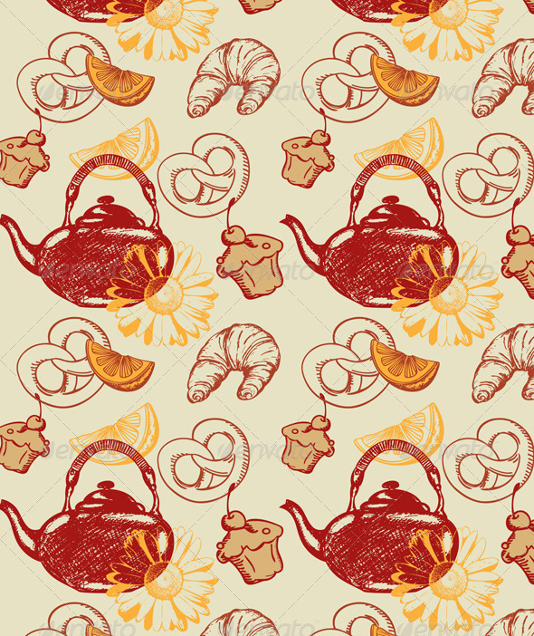 Seamless Pattern with Teapot  - Patterns Decorative
