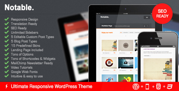 Notable - A New Responsive Business & Portfolio Premium WordPress Theme