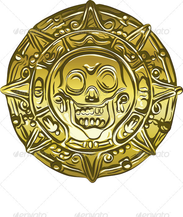 Vector gold Money pirate coin with a skull - Man-made objects Objects