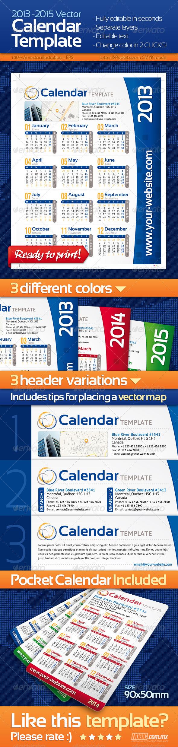 2013, 2014 and 2015 Calendar Template - Calendars Stationery