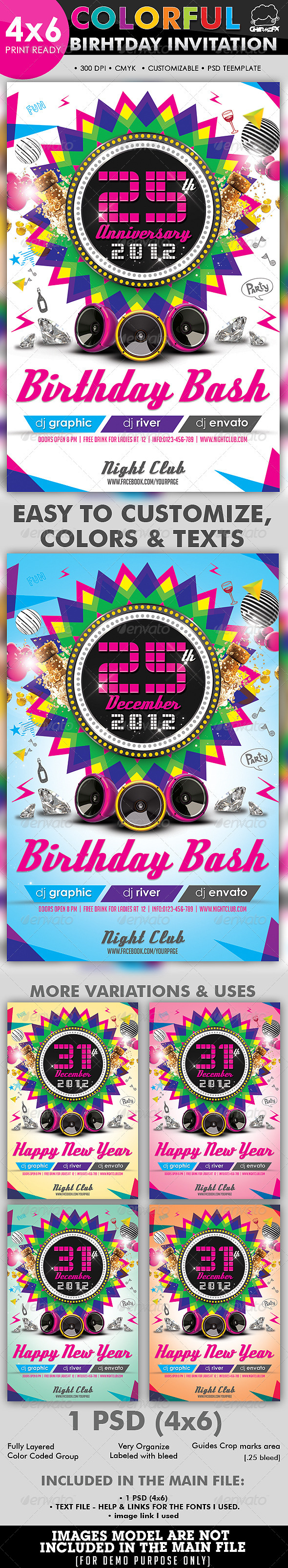 GraphicRiver Colorful Birthday Invitation Flyer Template 2866669