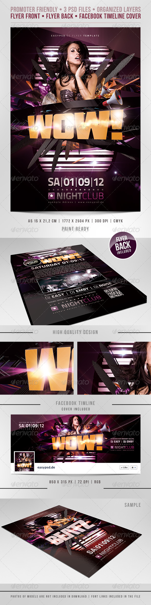 WoW Flyer Template - Clubs & Parties Events