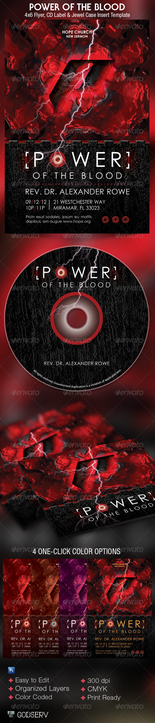 Power of The Blood Church Flyer and CD Template - Church Flyers