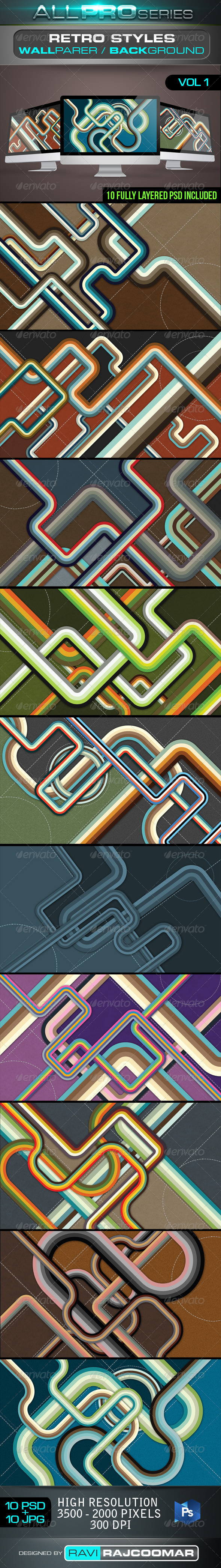 Retro Style Background Vol.1 - Abstract Backgrounds