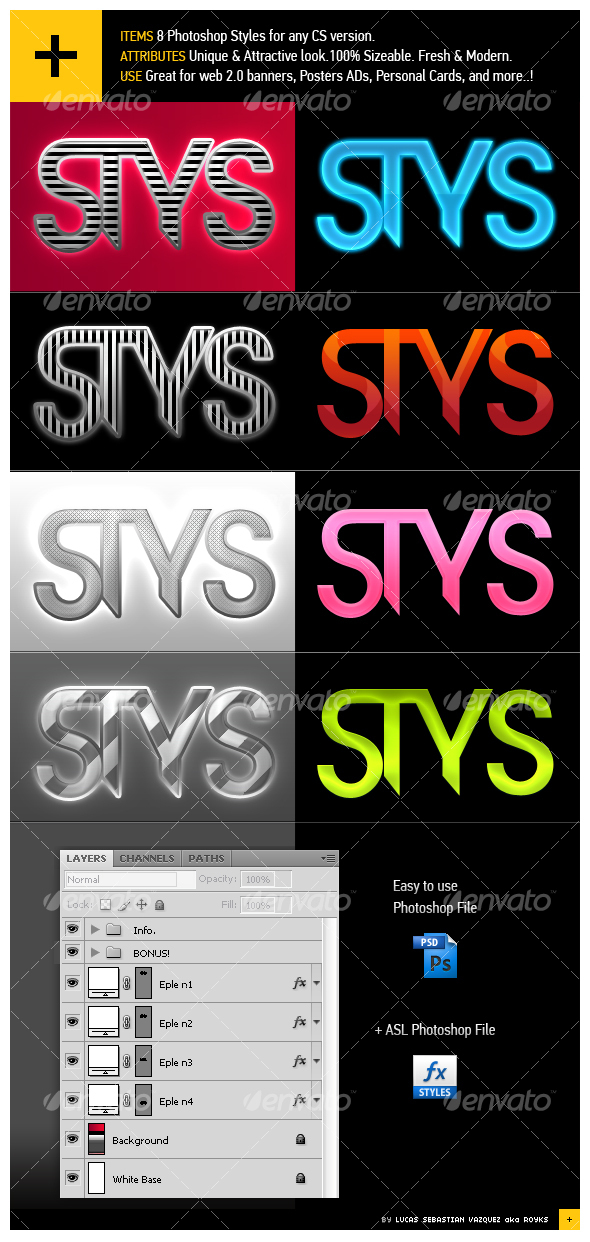 GraphicRiver 8 Groovy Photoshop Styles 88390