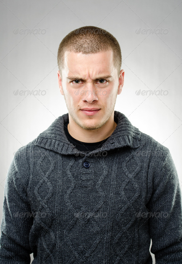 Portrait of angry man - Stock Photo - Images