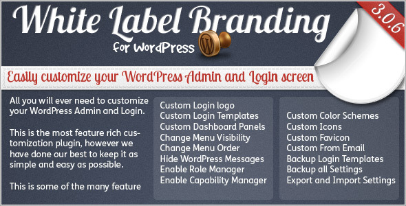 CodeCanyon White Label Branding for WordPress 125617