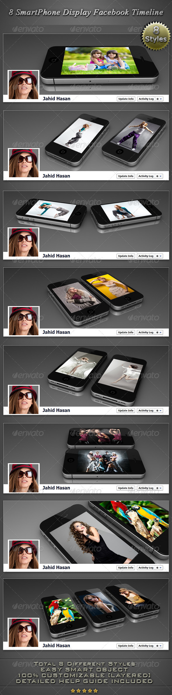 GraphicRiver 8 Smartphone Display Facebook timeline Covers 2879222