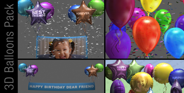 After Effects Project - VideoHive 3D Balloon Pack 2887474