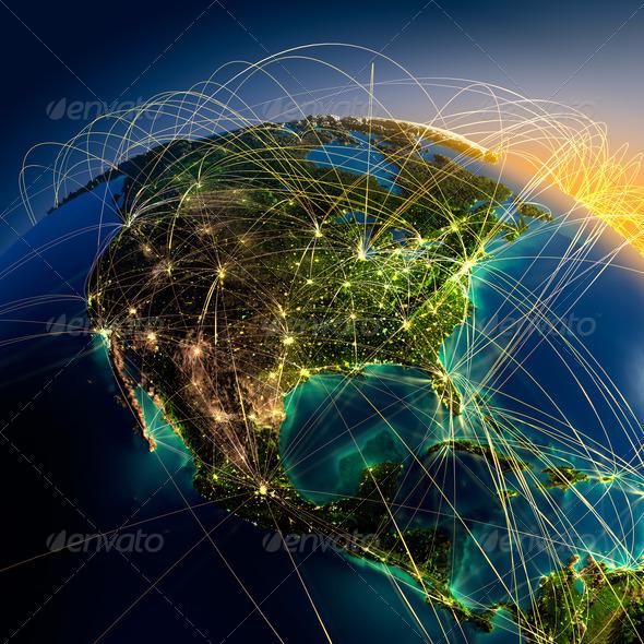 PhotoDune Main air routes in North America 2887642