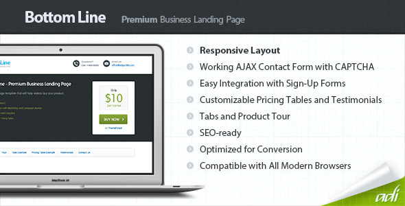 ThemeForest Bottom Line Premium Business Landing Page 2858339