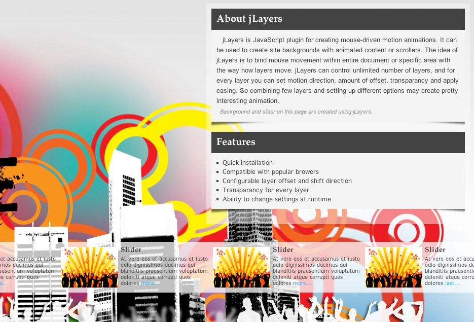 jLayers - Mouse Driven Animation Plugin - About jLayers