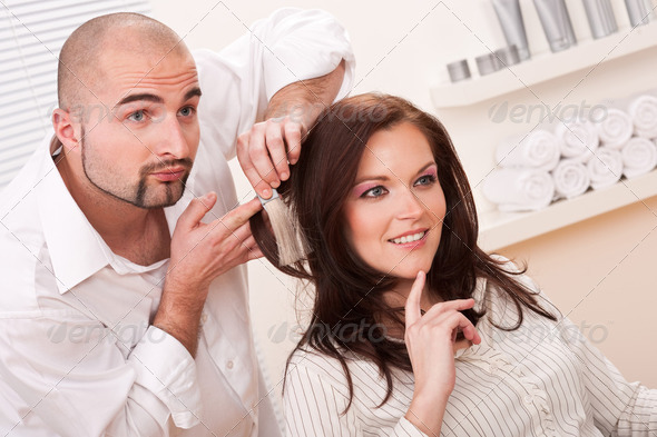Professional Hairdresser Choose Hair Dye Color At Salon - Stock Photo - Images