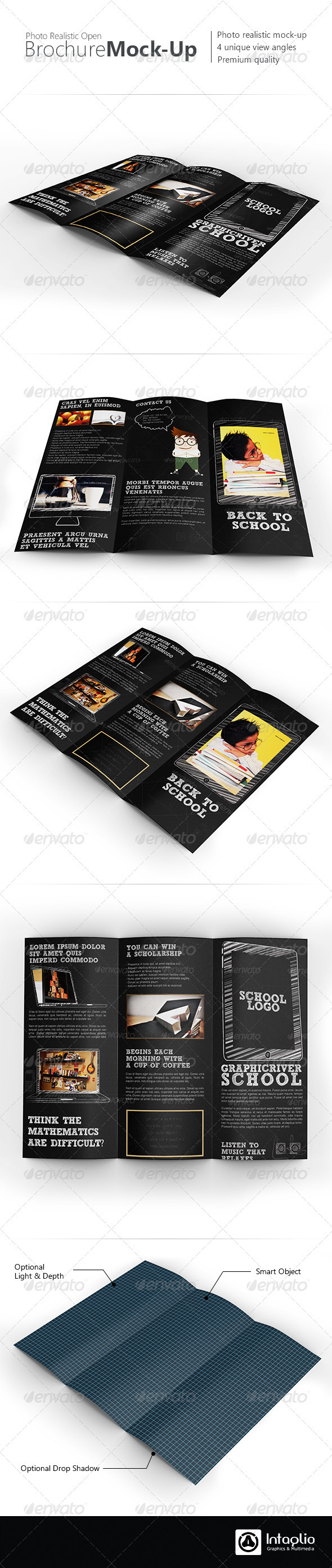 Photorealistic Tri-Fold Brochure Mock-Up - Brochures Print