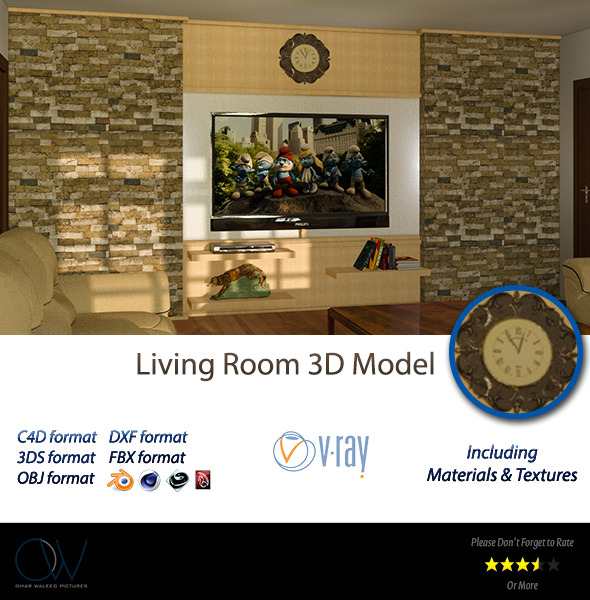 3DOcean Living Room 3D Model 2891082