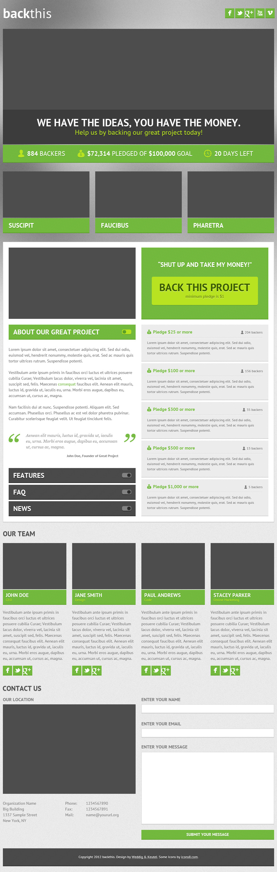 backthis - Crowdfunding Landing Page (HTML5 & PSD)
