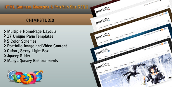 HTML BUSINESS,MAGAZINE & PORTFOLIO site 5 IN 1